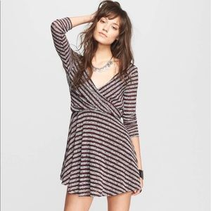 Free People Sz M Maverick Striped Twist Dress EUC